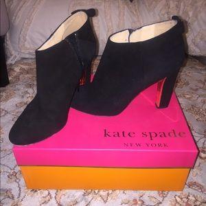 Netta Kate Spade black suede booties. Exlnt cond